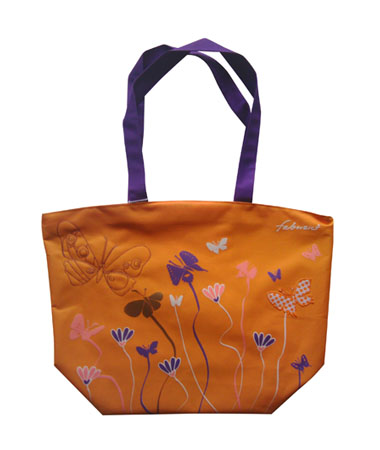Orange Polyester Tote Bag
